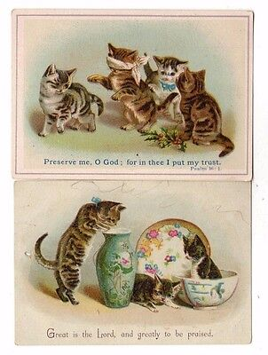 2 Victorian Trade Cards (Religious Quotes,Cats & Kittens)