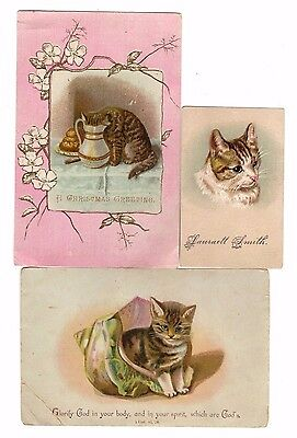 3 Victorian Trade Cards (Religious Quotes,Christmas,Cats & Kittens)