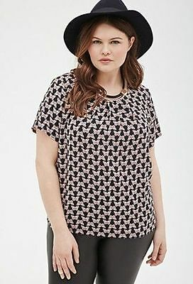NEW Butterfly Blouse Forever 21 Womens Plus Size 1XL Flattering Scoop Neck Top