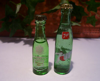 "*VERY RARE* 2 1/2"" Canada Dry & 7up Miniature Glass Bottles Mini Drink Soda"