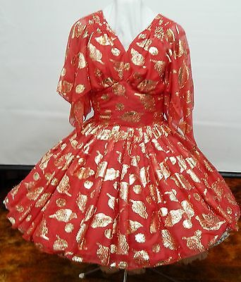 Red And Gold Nylon Party  Square Dance Dress