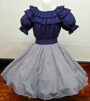 2 Pc Navy And Check Square Dance Dress