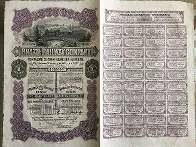 Brazil Railway Company Original Share Certificate Signed & Dated 23Rd March 1911