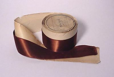 "Antique Satin Ribbon Pon. 605 No. 9--1-3/8"" Wide Coffee Bronze Rolled With Paper"