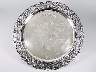 """15.75"""" Irish (Dublin) Sterling Silver -Family Tree- Footed Tray /salver ~59 T.o."""