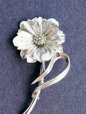 Vintage Boucher signed and numbered silver tone flower brooch pin  2.75""