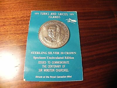 1974 Turks and Caicos  Silver 20 Crown Coin Centenary of Winston Churchill