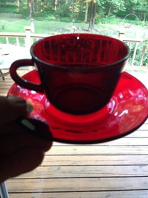 Vintage Ruby Red Glass Cup and Saucer Set.