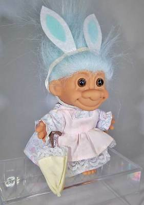 """Russ 4.5"""" Troll - Easter Bunny W Umbrella Parasol - Turquoise Hair - Easter"""