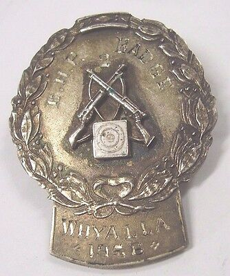 Sterling Silver RR Sarre Rifle Club Shooting Prize Badge BHP Badge Whyalla 1956