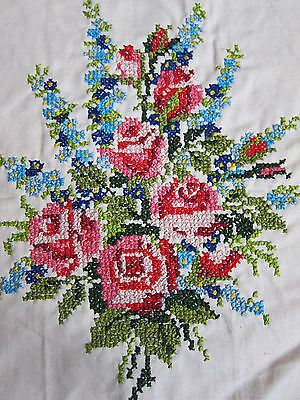 Vintage Rose Boquet Cross Stitch Completed Needlework Embroidery Pillowtop 1976
