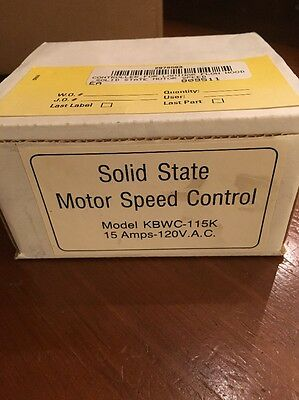 KB Electronics Solid State Motor Speed  Control, KBWC-115K, 15 Amps-120V.A.C NEW