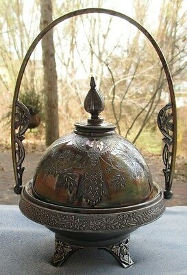 International Silver Meriden Co Silverplate Fancy Covered Butter Basket Dish