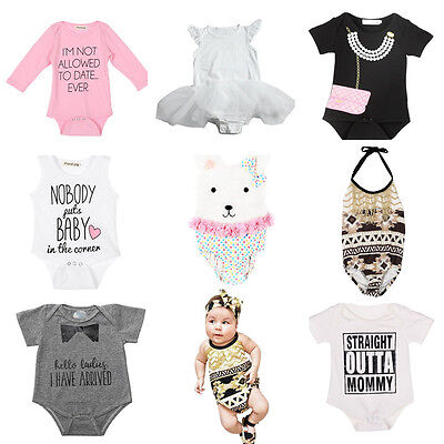 Newborn Toddler Baby Girl Boy Cotton Romper Jumpsuit Bodysuit Clothes Outfit lot