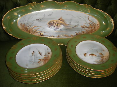 11 pc Antique French Limoges T.Haviland Gold Hand decorated Porcelain  Fish set