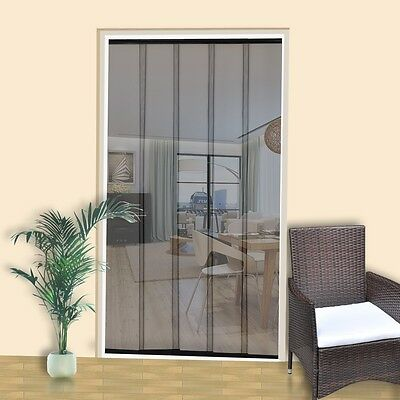Black Mesh Door Curtain Anti-insect Fly Mosquito Screen Blinds 125cm Hands Free