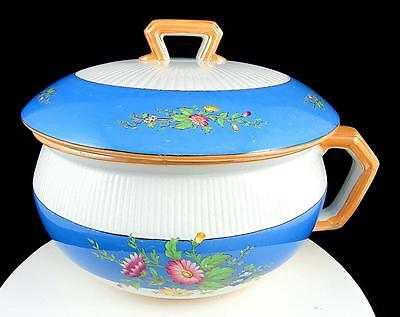 """Old English Antique Floral Blue And White 7 1/2"""" Lidded Chamber Pot 1877"""