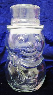 Vtg Christmas Jar SNOWMAN Clear Glass Jar with Top Hat Seal Tight Lid