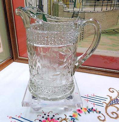"Eapg Indiana Glass Rosepoint Band And Water Lily 8 1/2"" Pitcher 1913"