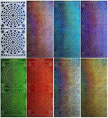 ASSORTED GLITTER DOTS Peel Off Stickers Holographic Shimmer Flowers Card Making