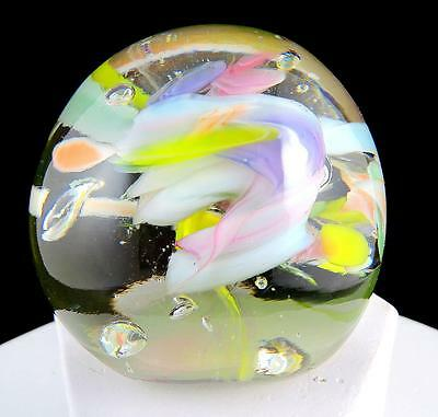 """Art Glass Studio Multicolored Bubble Centered Flowers 3"""" Round Paperweight"""