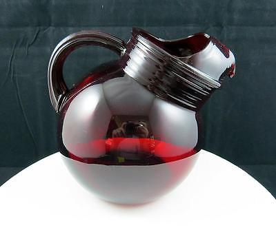 """Anchor Hocking Roly Poly Royal Ruby Red 6"""" Ribbed 42 Oz Pitcher 1950-1960"""