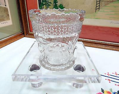 "Eapg Indiana Glass Rosepoint Band & Water Lily 3 7/8"" Spooner 1913"