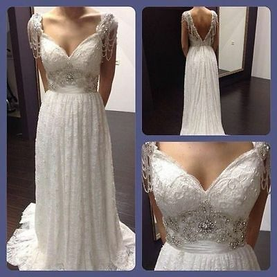 2017New Vintage White Ivory Lace  Wedding dress Bridal Gown Custom Size 2 -18+++