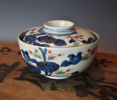 BEAUTIFUL ANTIQUE JAPANESE COVERED BLUE LOTUS BOWL Porcelain Chawan 120 Yrs Old