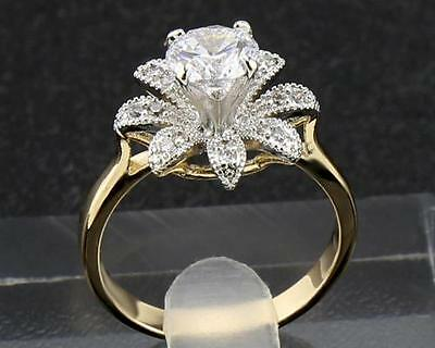 14Kt Solid Yellow Gold  1.98 Carat Natural Diamond  Rings Size7