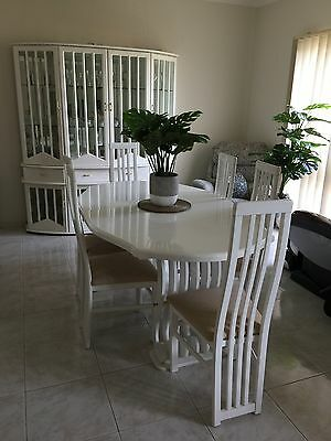 ELEGANT 9 Piece WHITE DINING SET (TABLE, 6 x CHAIRS, BUFFET, TV UNIT)