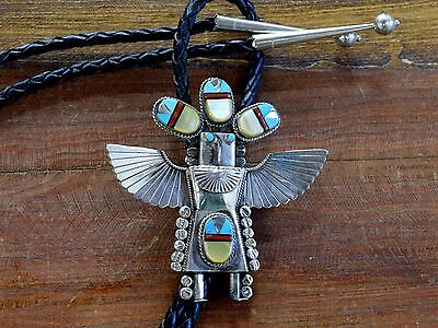 Vintage Navajo Multi-Stone Inlay Eagle Dancer Kachina Sterling Silver Bolo Tie