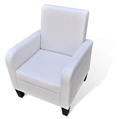 Artificial Leather White Armchair Modern Arm Sofa Seat Chair Lounge Home TV
