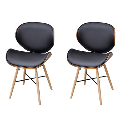S# 2 pcs Dining Chairs PU Faux Artitfical Leather Cafe Kitchen Bent Wood Furnitu