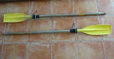 Boat Oars with Wooden Handle & Shaft & Plastic Blade