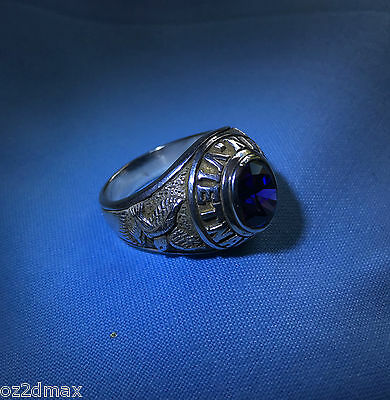 Vietnam Ring Veteran Solid Silver With A Amethysts Stone