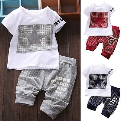 Kids Short Sleeve Baby Boy 2PCS Summer Clothes Casual Tops T-shirt+Pants Outfits