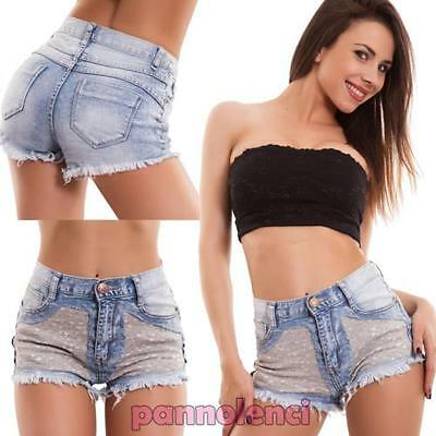 Shorts women's jeans short hot pant STRASS high waist skinny new M11048