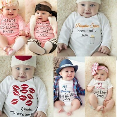 Newborn Infant Baby Boy Girl Funny Words Romper Clothes Outfit Bodysuit Jumpsuit