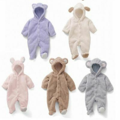 Newborn Infant Baby Boy Girl Romper Hooded Jumpsuit Bodysuit Outfits Clothes New