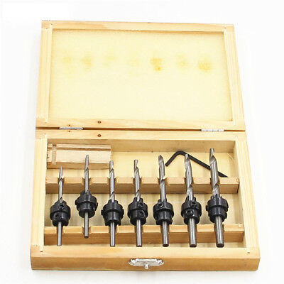 22pc/Set COUNTERSINK DRILL BIT w/ CASE Adjustable Depth Stop Collars Woodworking