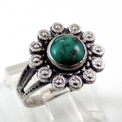 Sterling Silver Green Turquoise Flower Ring Size 5
