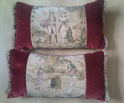 PAIR VINTAGE RECTANGLE VELVET TAPESTRY CUSHION RETRO KITCH Kitsch Feather Inner