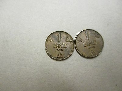 norway 2 x 1 ore coins 1928-1930