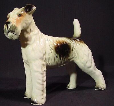 Vintage Ceramic Standing Dog Figurine Wirehaired Fox Terrier