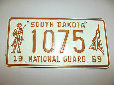 1969 South Dakota National Gaurd License Plate tag # 1075 with Soldier Graphics
