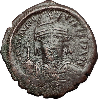 MAURICE TIBERIUS 582AD Constantinople Follis Ancient Byzantine Coin i59604