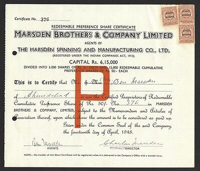 India 1948 Marsden Brothers & Company Preference share certificate