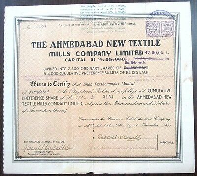 India 1941 The Ahmedabad New Textile Mills Co Ltd share certificate