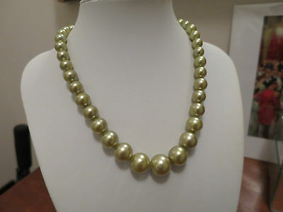 Vintage Faux Pearl Graduated Necklace, 1950's, Lovely Moss Green